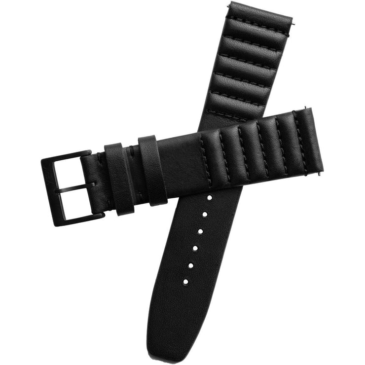Xeric 22mm Ribbed Horween Leather Black Strap Black Buckle