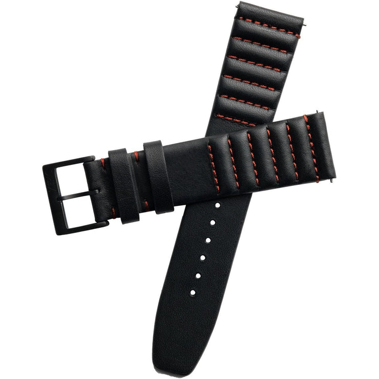 Xeric 20mm Ribbed Horween Leather Black Red Strap Black Buckle