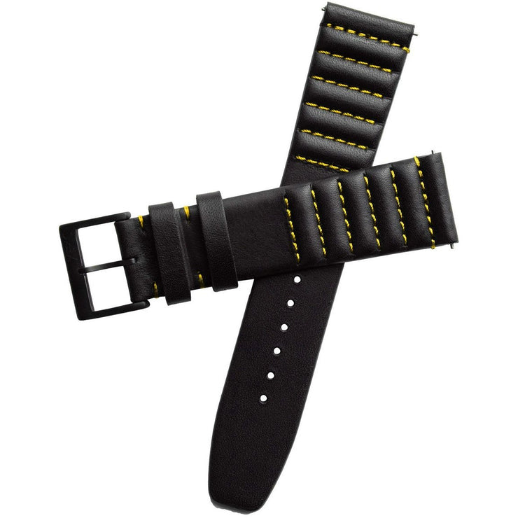 Xeric 20mm Ribbed Horween Leather Black Yellow Strap Black Buckle
