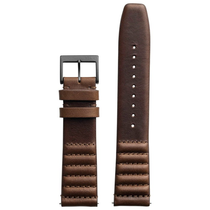 Xeric 22mm Ribbed Horween Leather Brown Strap Gun Buckle angled shot picture