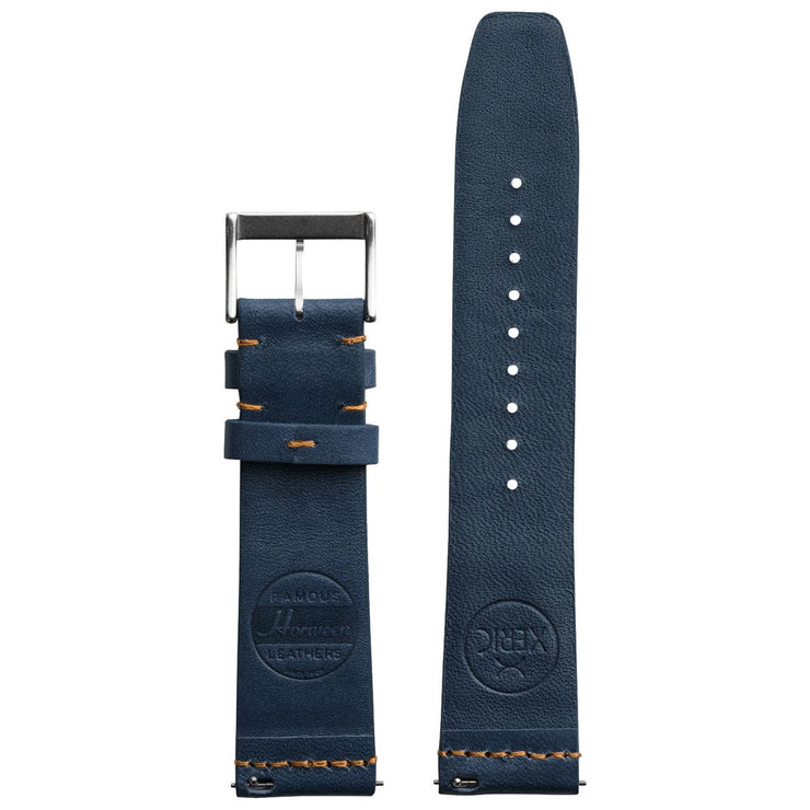 Xeric 22mm Ribbed Horween Leather Navy Orange Strap Silver Buckle