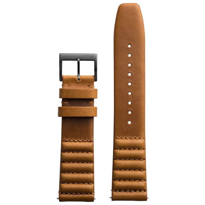 Xeric 22mm Ribbed Horween Leather Tan Strap Gun Buckle angled shot picture
