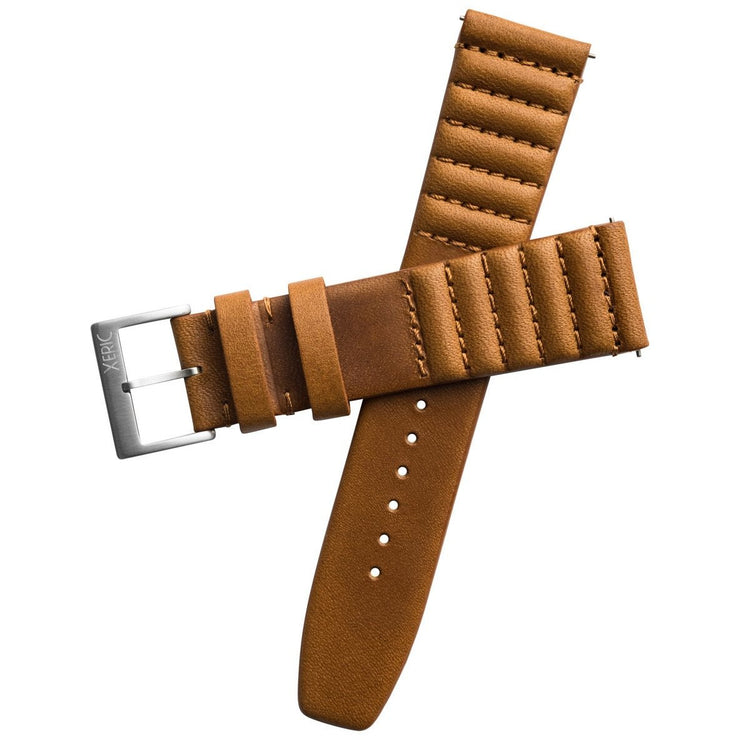 Xeric 20mm Ribbed Horween Leather Tan Strap Silver Buckle