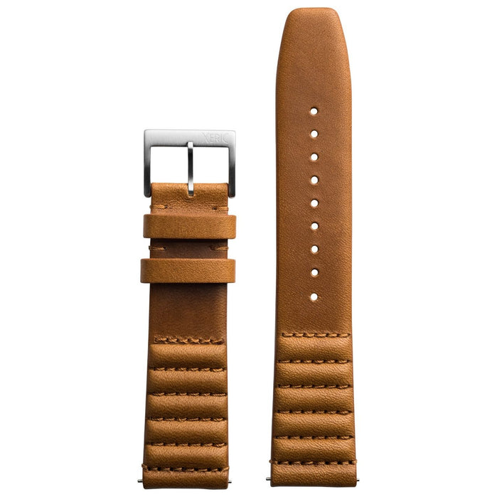 Xeric 20mm Ribbed Horween Leather Tan Strap Silver Buckle angled shot picture