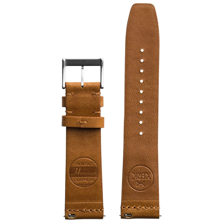 Xeric 22mm Ribbed Horween Leather Tan Strap Silver Buckle