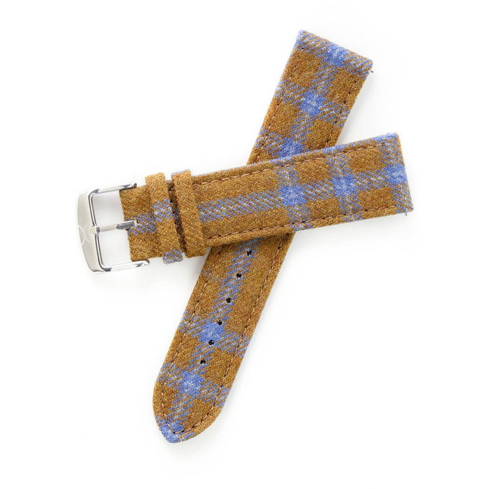 Xeric Savile Row 24mm Camel Blue Tartan angled shot picture