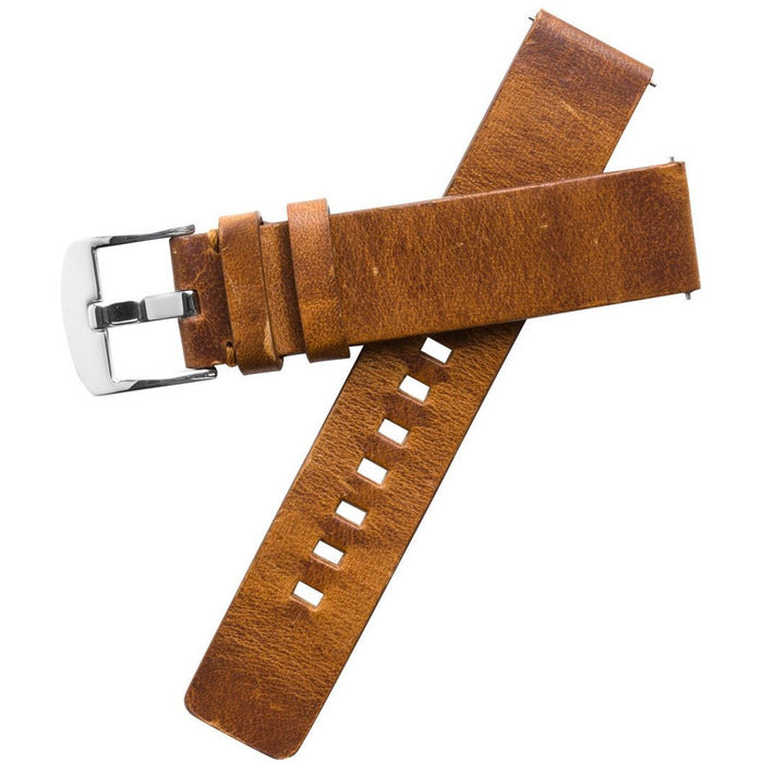 Xeric 20mm American Horween Tan/Silver Leather Strap angled shot picture