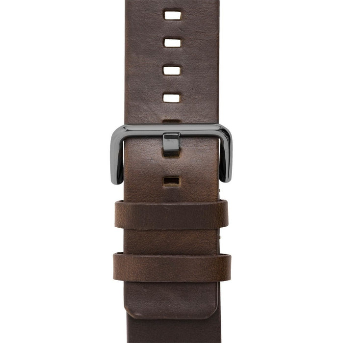Xeric 24mm American Horween Dark Brown/Gun Leather Strap angled shot picture