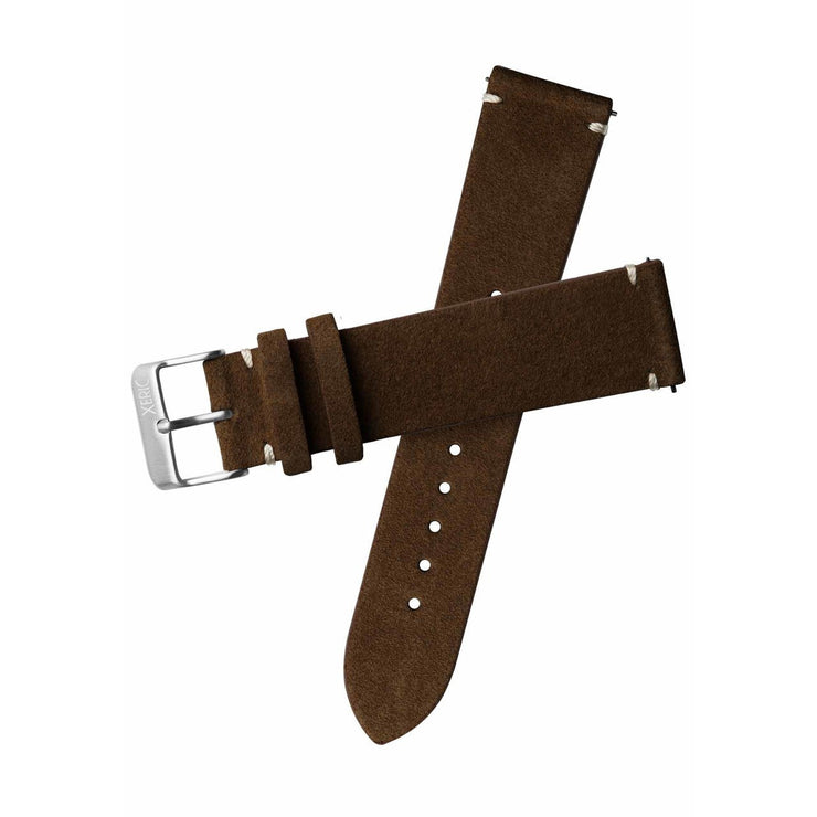 Xeric 20mm Italian Suede Dark Brown Strap Silver Buckle