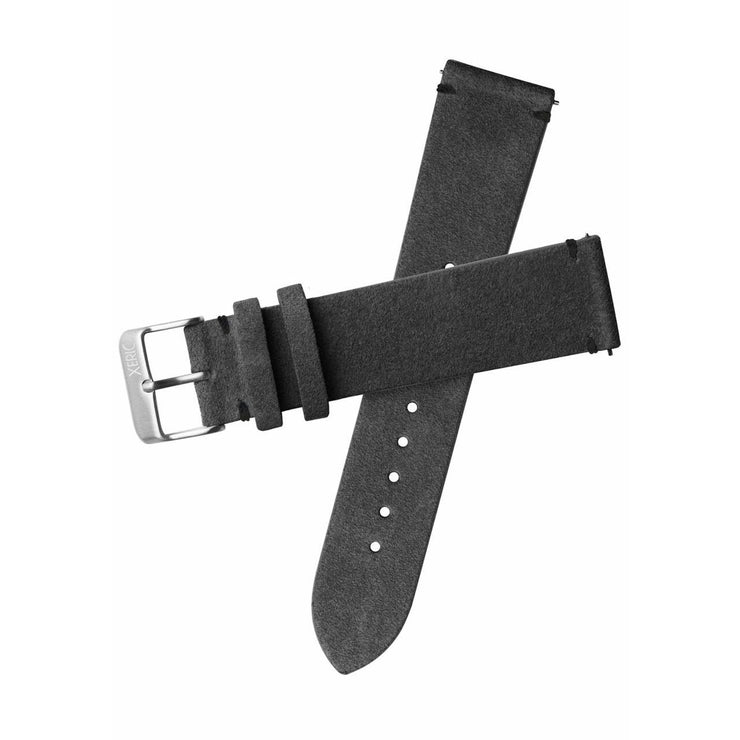 Xeric 20mm Italian Suede Charcoal Strap Silver Buckle