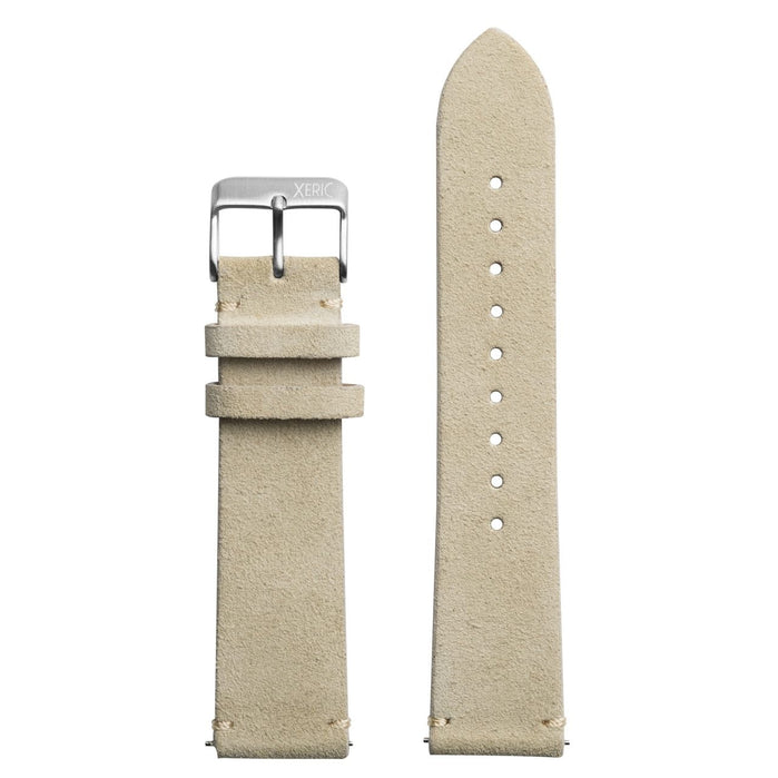 Xeric 20mm Italian Suede Wheat Strap Silver Buckle angled shot picture