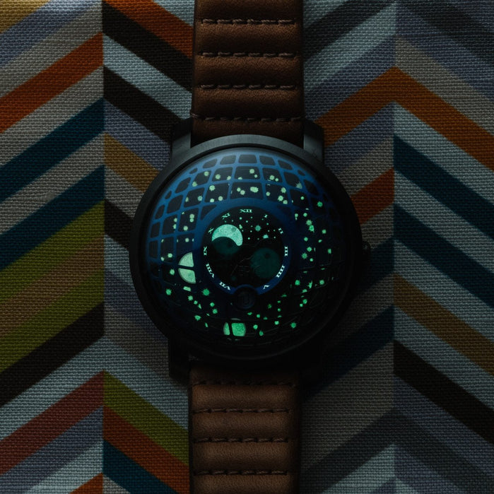 Xeric Trappist-1 Moonphase Blue IP angled shot picture