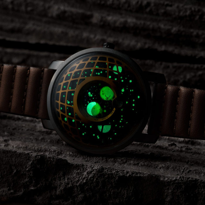 Xeric Trappist-1 Moonphase Brass Green angled shot picture