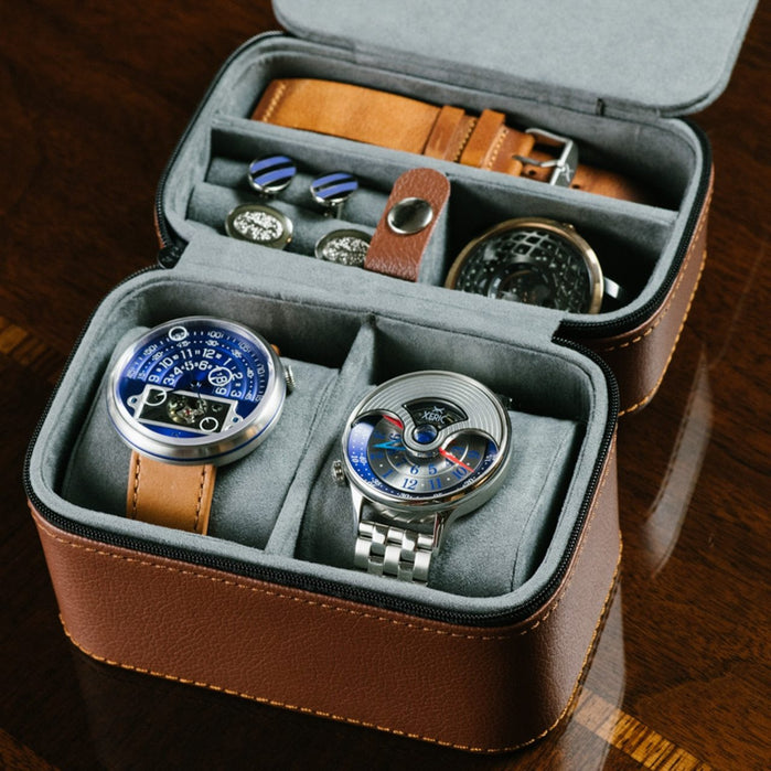 Xeric Two Watch Brown Travel Case angled shot picture