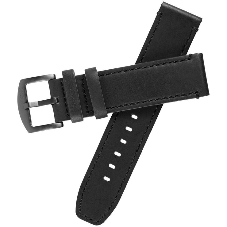 Xeric 22mm All Black Leather Strap with Stitching