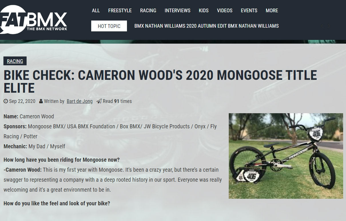 FATBMX Cam Wood Mongoose Bike Check