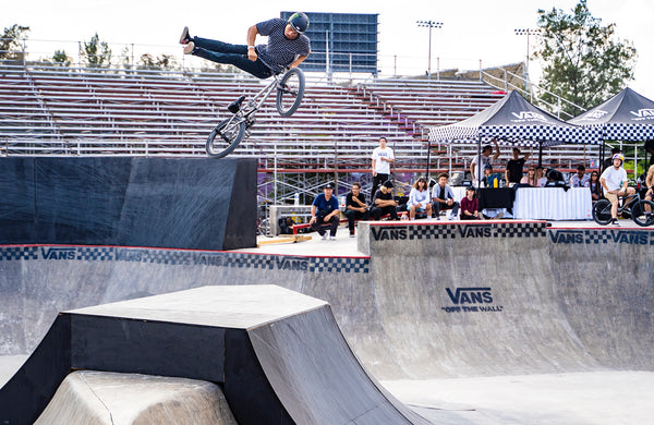 This is a new one for Kevin! A top-side no-footed can-can 360. He makes bike riding look so good!