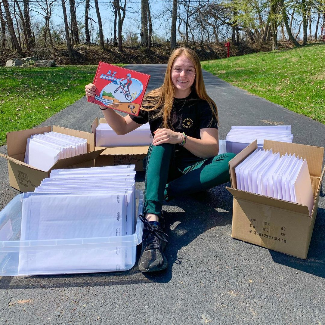 Payton Ridenour Sending out her first shipment of Books
