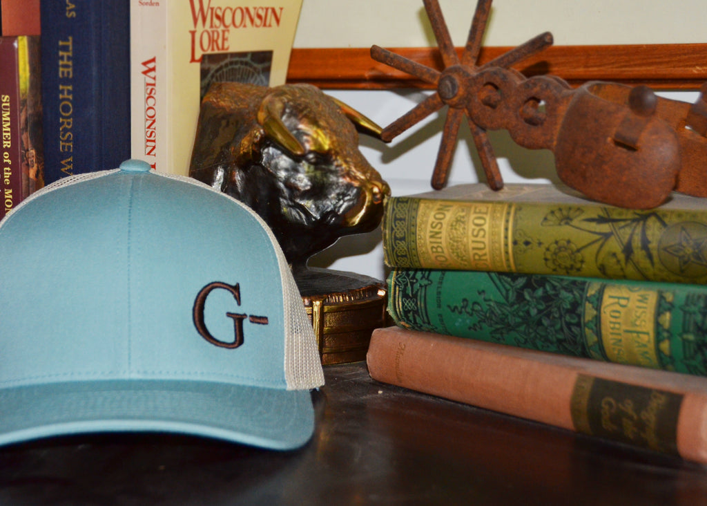 Mesh Back Blue/Khaki hat Brown G-