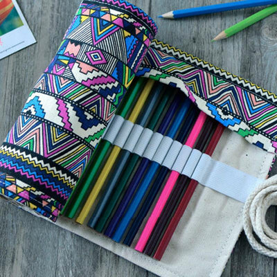 Colored Pencil Roll Up Case - Canvas Pencil Roll