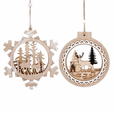 3 Pcs Small Wooden Christmas Ornaments - Mini Decorations 5