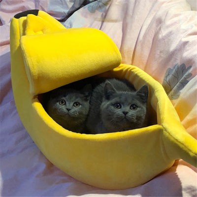 Cute Banana Cave Cat Bed