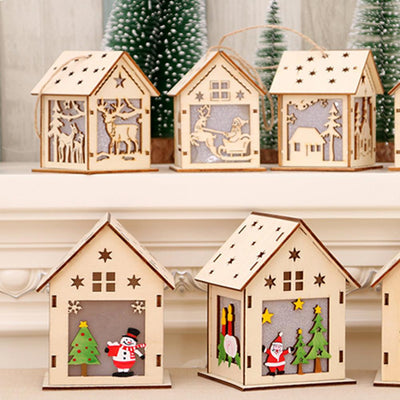 Cute Luminous LED Wooden House Decoration For Christmas 1