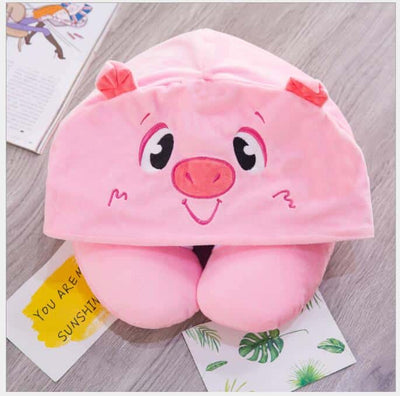 Cute Animal Hooded Neck Pillow - Airplane Travel Nap Cushion