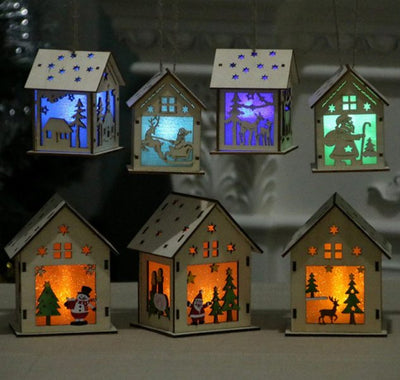 Cute Luminous LED Wooden House Decoration For Christmas