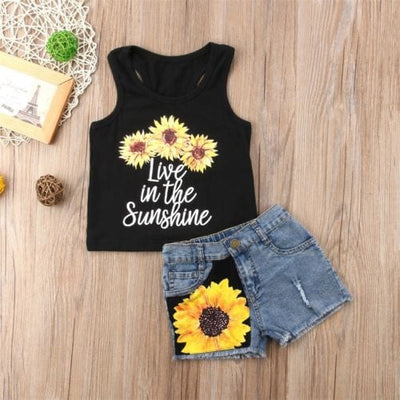 Cute Sunflower Clothes Set (Sleeveless Tank Top + Short Pants Summer) - Summer Outfit for Toddler Baby Girl 1