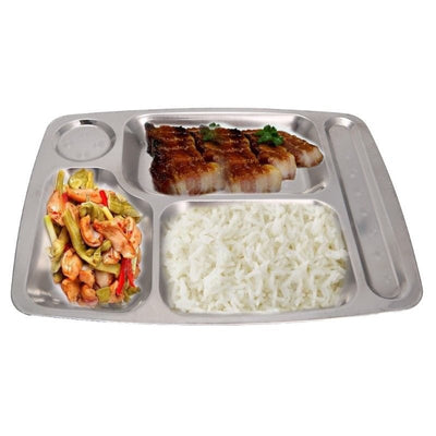 Stainless Steel Divided Plates for Adults - Portion Plate