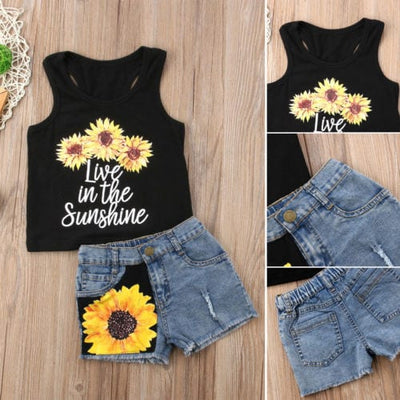 Cute Sunflower Clothes Set (Sleeveless Tank Top + Short Pants Summer) - Summer Outfit for Toddler Baby Girl 3
