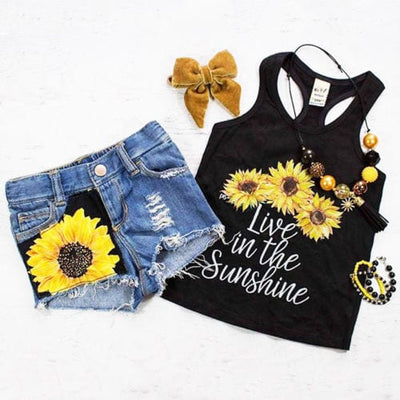 Cute Sunflower Clothes Set (Sleeveless Tank Top + Short Pants Summer) - Summer Outfit for Toddler Baby Girl