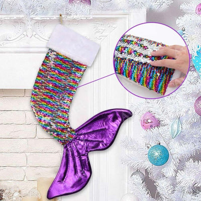 Sequin Mermaid Tail Christmas Stocking Gift Candy Loot Bag