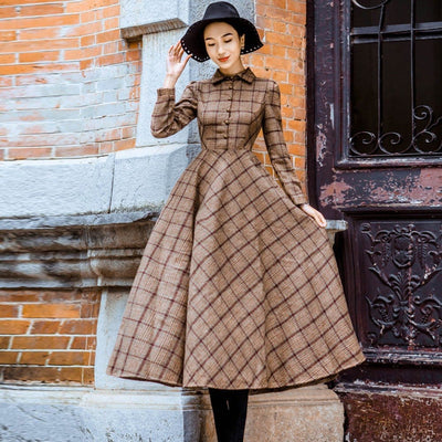 Womens Plaid Wool Winter Dress - Vintage Retro Slim Dress