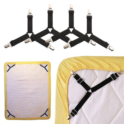 ritok bed sheet fastener bed suspenders adjustable sheets with elastic corner straps non slip mattress clips for sheets set of 4