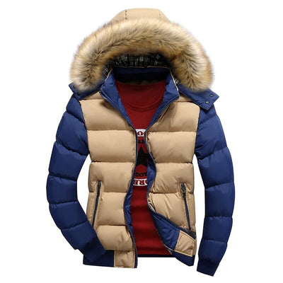 Mens Parka With Hood - Padded Jacket With Faux Fur