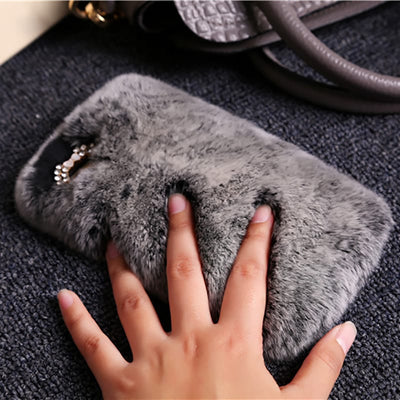 Warm Fluffy Rabbit Fur Cute Case For iPhone 5 5S SE 6 6S Plus 7 8 X
