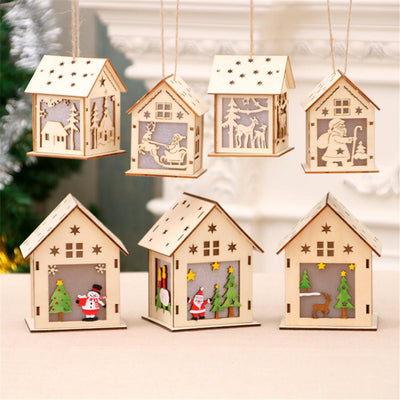 Cute Luminous LED Wooden House Decoration For Christmas 3