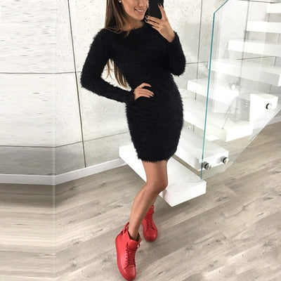 Plus Size Sexy Long Sleeve Faux Fur Bodycon Dress