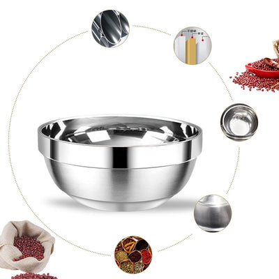 6 Pcs Double Layer Korean Stainless Steel Soup Rice Bowl