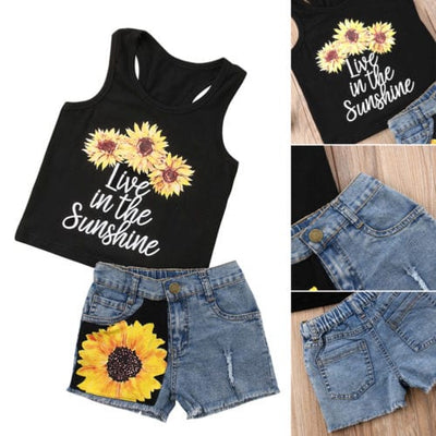 Cute Sunflower Clothes Set - Summer Outfit for Toddlers