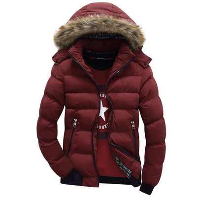 Cheap Mens Parka With Hood - Padded Jacket With Faux Fur