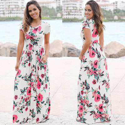 Womens Long Short Sleeve Bohemian Printed Maxi Long Dress