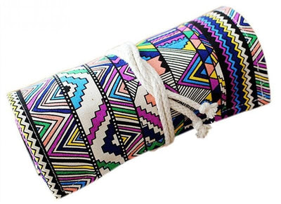 Colored Pencil Roll Up Case - Canvas Pencil Roll 2