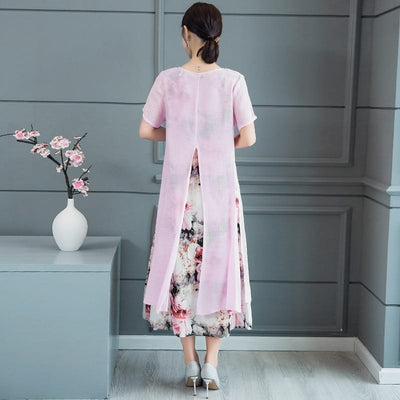 Vintage Floral Print Women Long Summer Dress