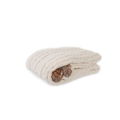 Knitted Chenille Faux Fur Cable Knit Blanket