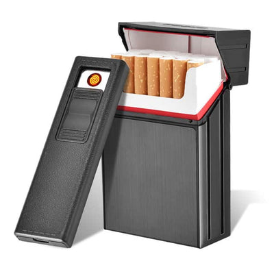Cigarette Case with Rechargeable USB Lighter - Cigarette Box