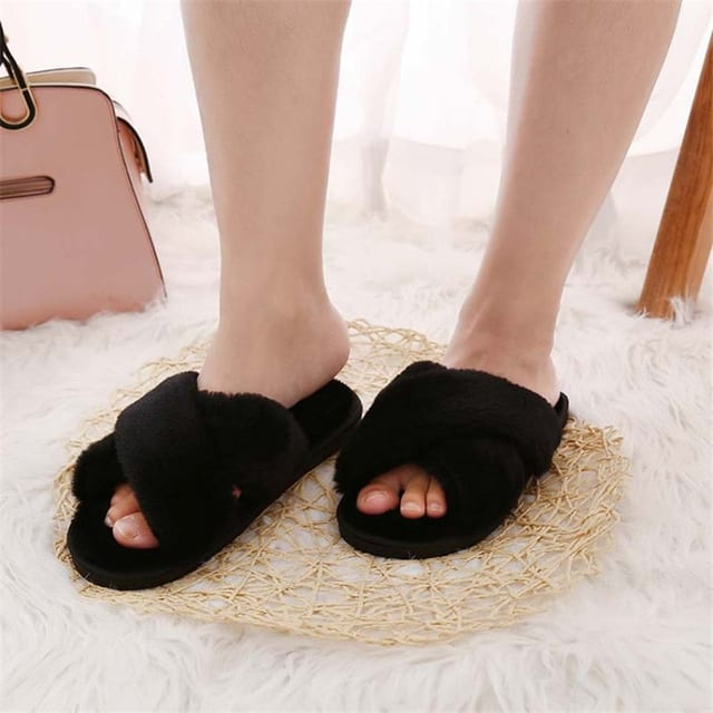 Womens House Slippers - Furry Slippers Womens Slippers