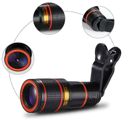HD12X Zoom Camera Lens -  Telephoto Clip On Lens for Smartphones